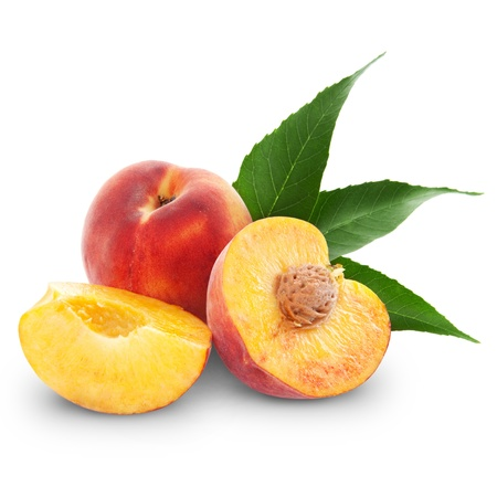 fresh peach fruits and half. Isolated on white background photo
