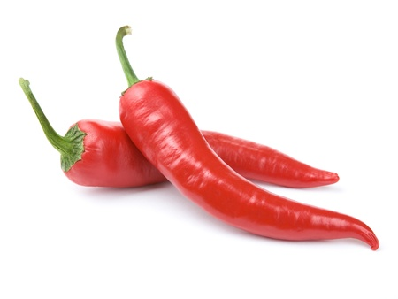 chili peppers: Red chili peppers isolated on the white  Stock Photo