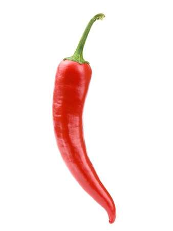Hot chili peppers isolated on white + Clipping Path  Stock Photo