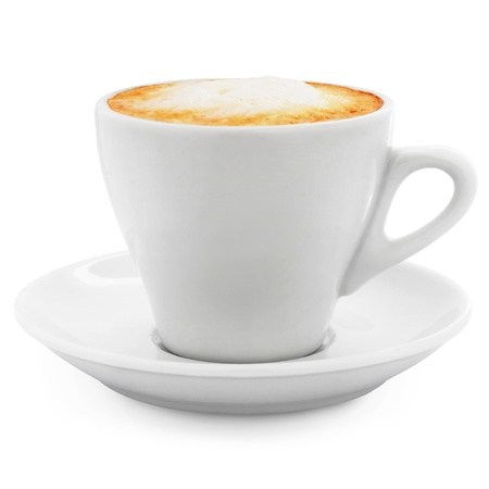 steaming coffee: cappuccino coffee in a white cup on a white background + Clipping Path Stock Photo