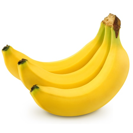 banana skin: Bunch of bananas isolated on white background + Clipping Path