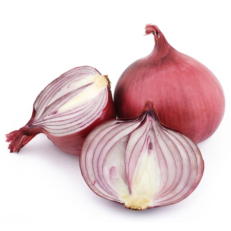 aftertaste: red onion on white background Stock Photo