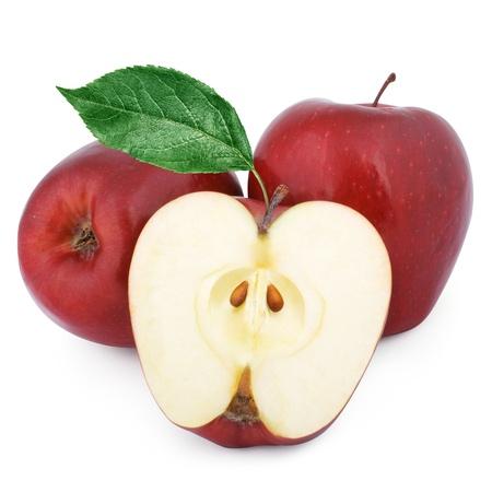 manzana roja: Dos manzanas rojas y la otra mitad de la manzana.