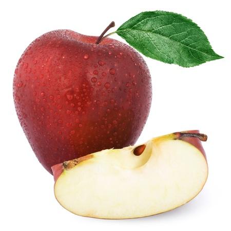 mela rossa: Mela rossa isolato su sfondo bianco.