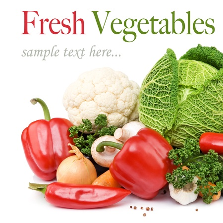 over eating: Healthy Eating. Seasonal organic raw vegetables. Isolated over white background