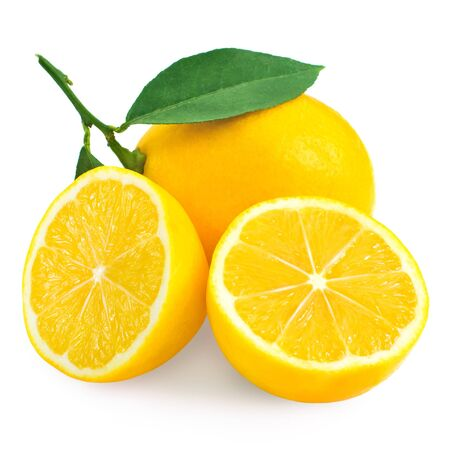 Fresh lemon citrus and half isolated on white background photo