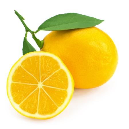 lemon juice: Fresh lemon citrus isolated on white background