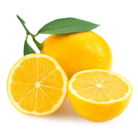 Fresh lemon citrus isolated on white background photo