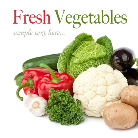 fresh vegetables on the white background photo