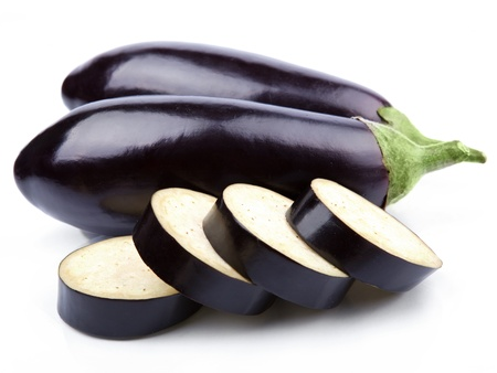 aubergine vegetable isolated on white photo