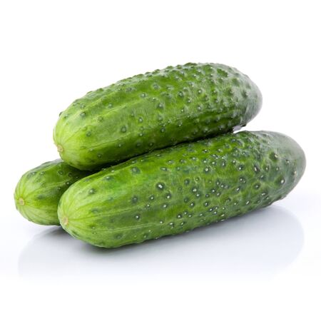 three fresh cucumber vegetable isolated on white photo