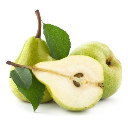 pera: peras maduras aisladas sobre fondo blanco Foto de archivo