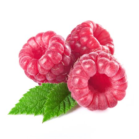 raspberries with leaves isolated on white background photo