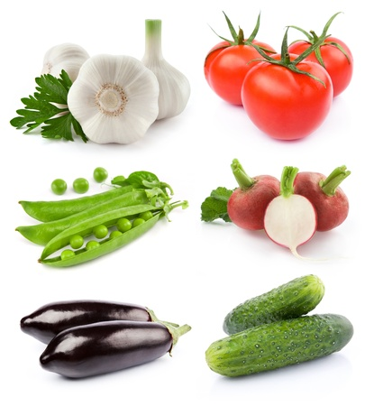vegetables collection isolated on white background Stock Photo - 11684375