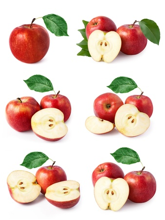 set red apple fruits with leaf isolated on white background photo