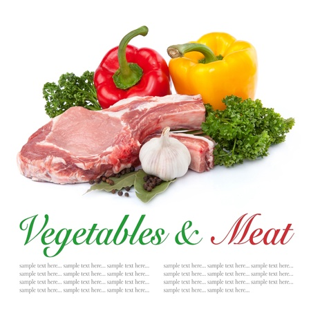 butchered: Raw meat and pepper, garlic isolated on white backgroun