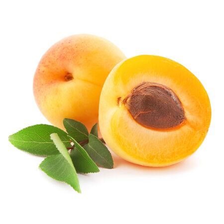 Apricot fruits with leaves isolated on white background Stock Photo - 11903335