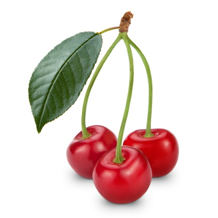 sour cherry: Ripe cherry isolated on white background Stock Photo