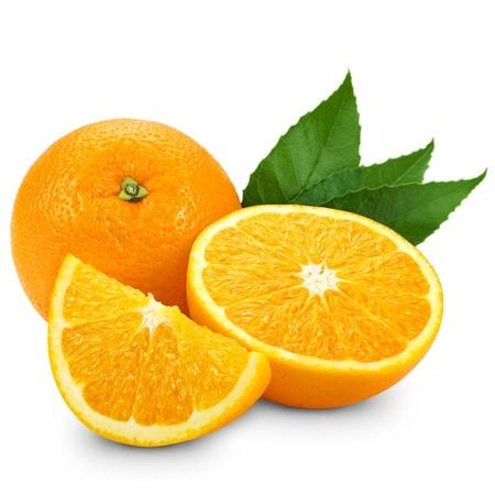 orange slice: Orange fruit isolated on white background + Clipping Path