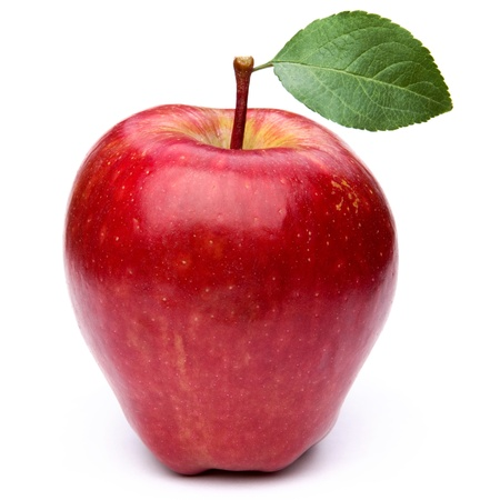 Red apple with leaves isolated on white  photo