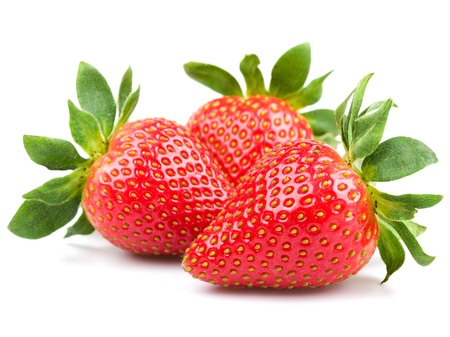 Fresh strawberry isolated on white background. Studio macro  photo