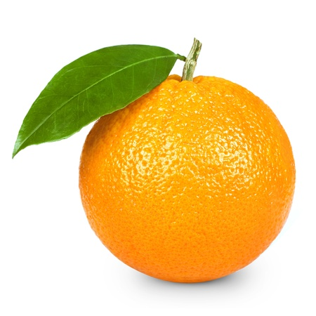 Ripe orange isolated on white background  photo