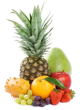 Healthy Eating Seasonal organic raw fruit Isolated over white background