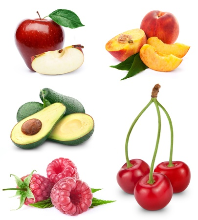 Fruit collection isolated on white background Stock Photo