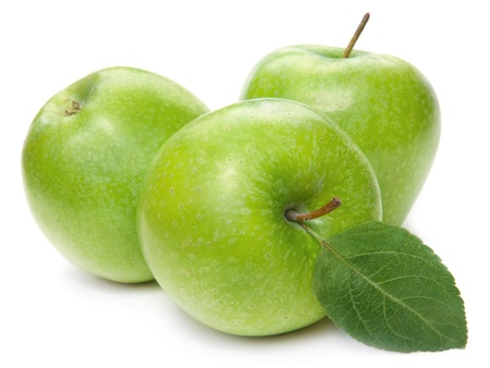 green apple: Green apple fruits and green leaves isolated on white background  Stock Photo