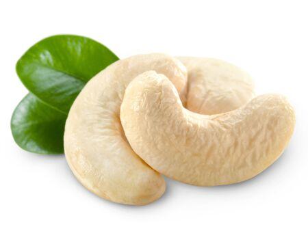 Cashew nuts isolated on white background photo