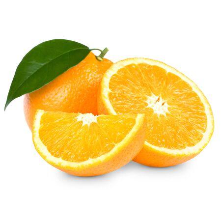 orange slice: Oranje vruchten op witte backgroun