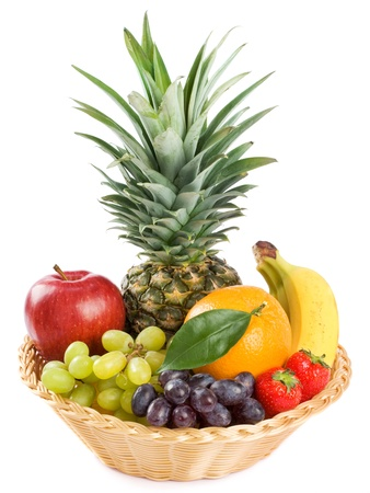 mixed fruits: Healthy Eating. Organic raw fruit isolated