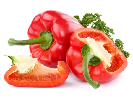 paprika: Red pepper isolated on white background  Stock Photo