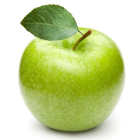 manzana verde: Manzanas verdes aisladas sobre un fondo blanco Foto de archivo