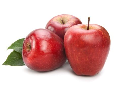 manzana roja: manzanas aisladas sobre fondo blanco Foto de archivo