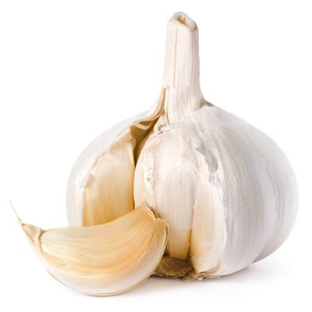 ajo: el ajo aisladas sobre fondo blanco Foto de archivo