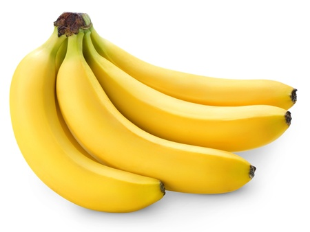 banana skin: Bunch of bananas isolated on white background + Clipping Path  Stock Photo