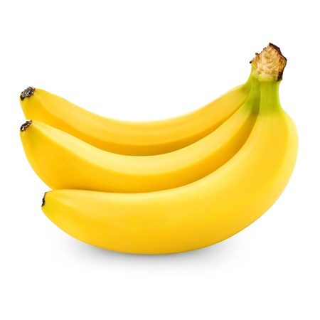 banana skin: three bananas isolated on white background + Clipping Path