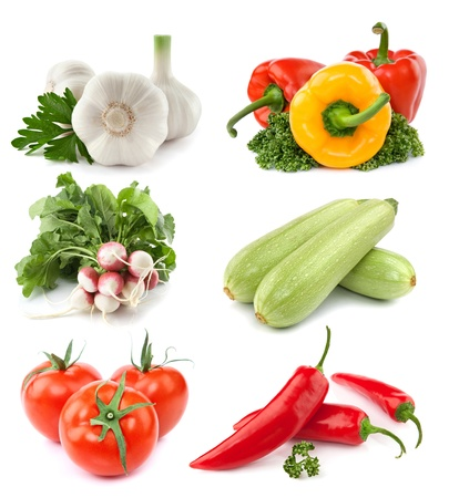 vegetables collection isolated on white background   Stock Photo