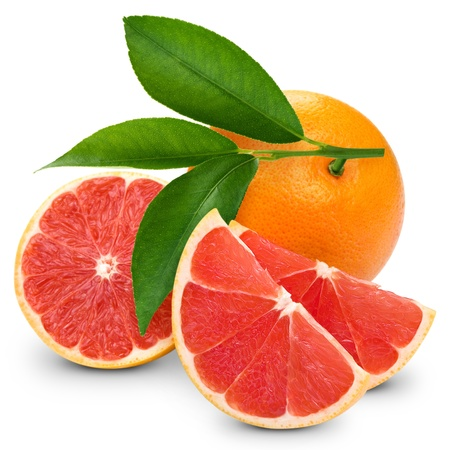 Red grapefruits isolated on white  Stock Photo - 17744537