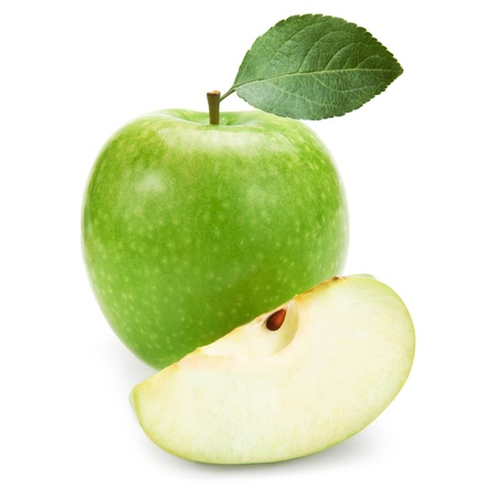 Green apples and half of apple Isolated on a white background Stock Photo - 17748110