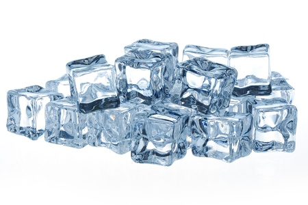 Ice cubes isolated on white background  Stok Fotoğraf