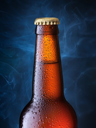 beerglass: brown bottle of beer + Clipping Path