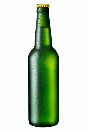 single beer bottle: beer in a green bottle isolated on a white background Stock Photo