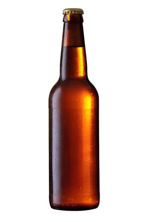 single beer bottle: Beer bottle with water drops