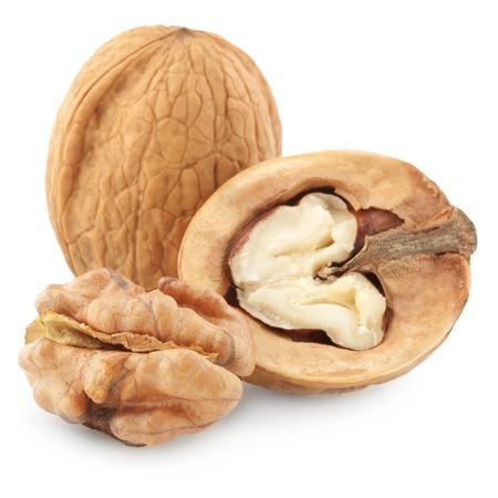 nut: walnuts close up on white