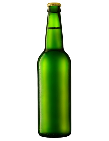 single beer bottle: beer in a green bottle isolated on a white background. Clipping Path