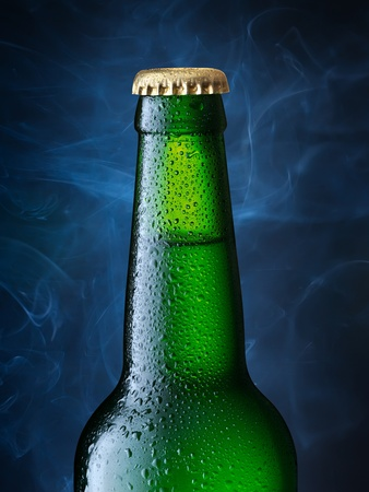 beerglass: bottle of beer. Clipping Path