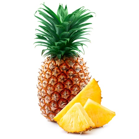 pineapple with slices isolated on white 스톡 콘텐츠