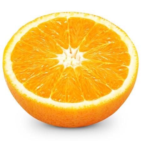 c vitamin: Half of a orange fruit isolated over white background   Stock Photo